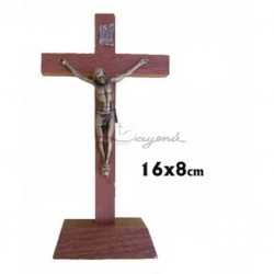 Crucifijo Madera Base 16cm
